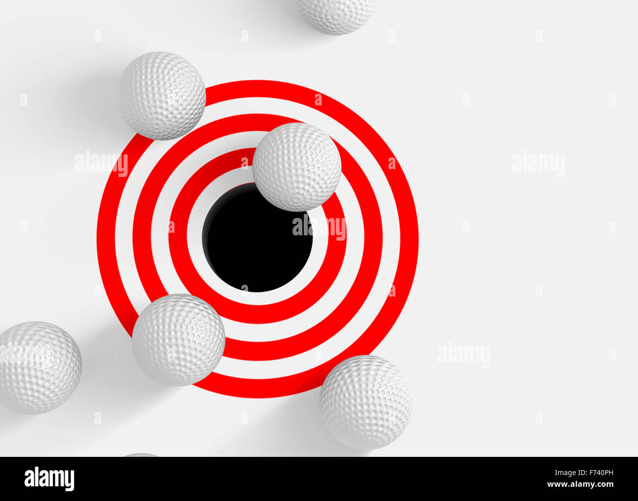 Conceptual 3d image with golf balls and hole - Stock Image