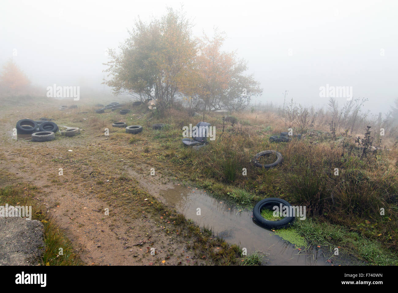 Rubbish heap - ruins of the former missile base - Stock Image
