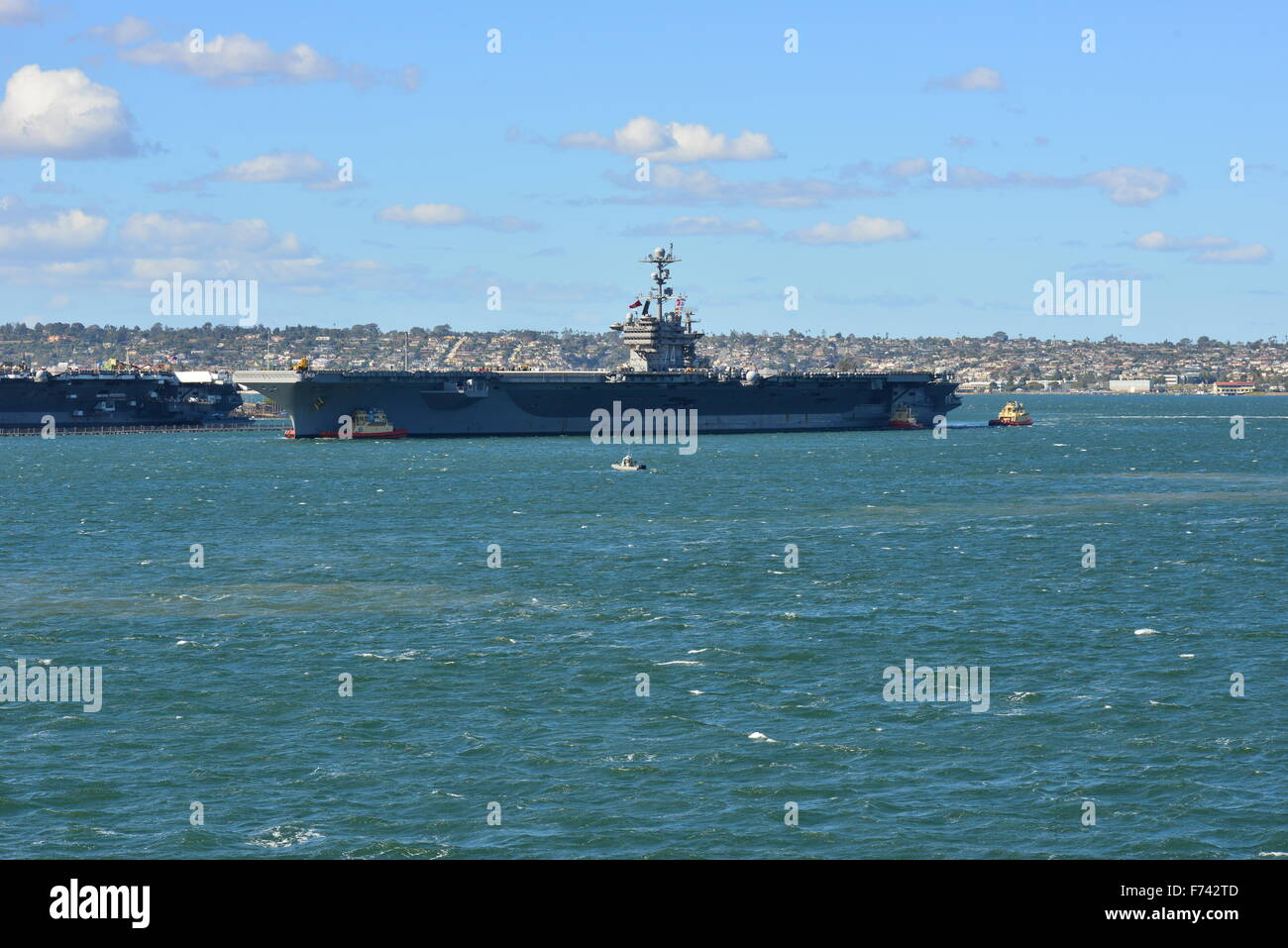 USS Stennis aircraft carrier in San Diego Harbour Stock