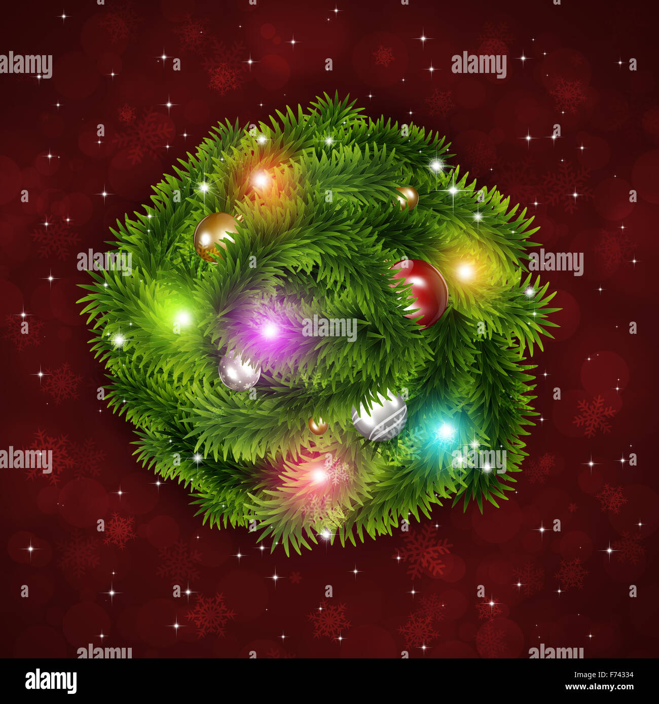 winter holiday christmas tree ring on red background with blurry lights and stars - Stock Image