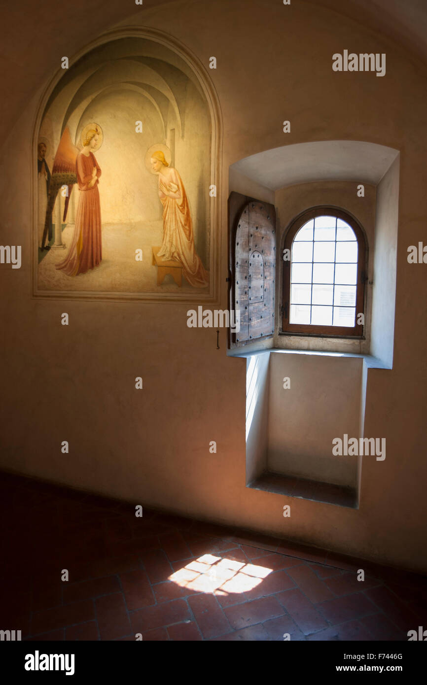 Fra Angelico, Annunciation, monk's cell, San Marco Monastery, Florence - Stock Image