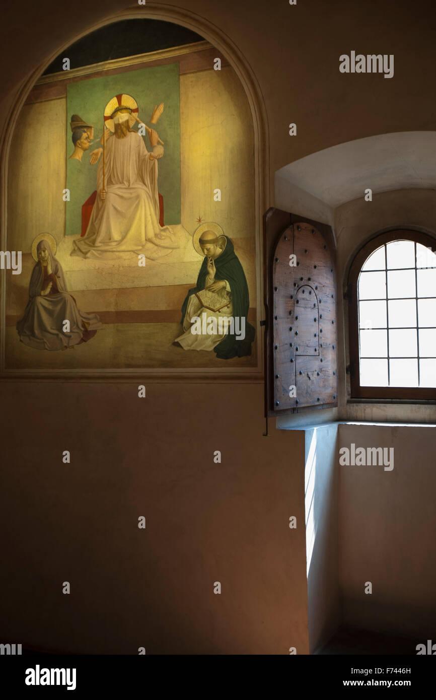 The mocking of Christ. San Marco Museum, Florence Beato Angelico La derisione di Cristo - Stock Image