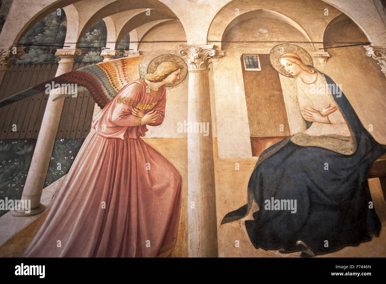 Annunciation painting,15th century, Fra Angelico (1400-1455), Museo di San Marco, museum of saint Marco  Convent - Stock Image