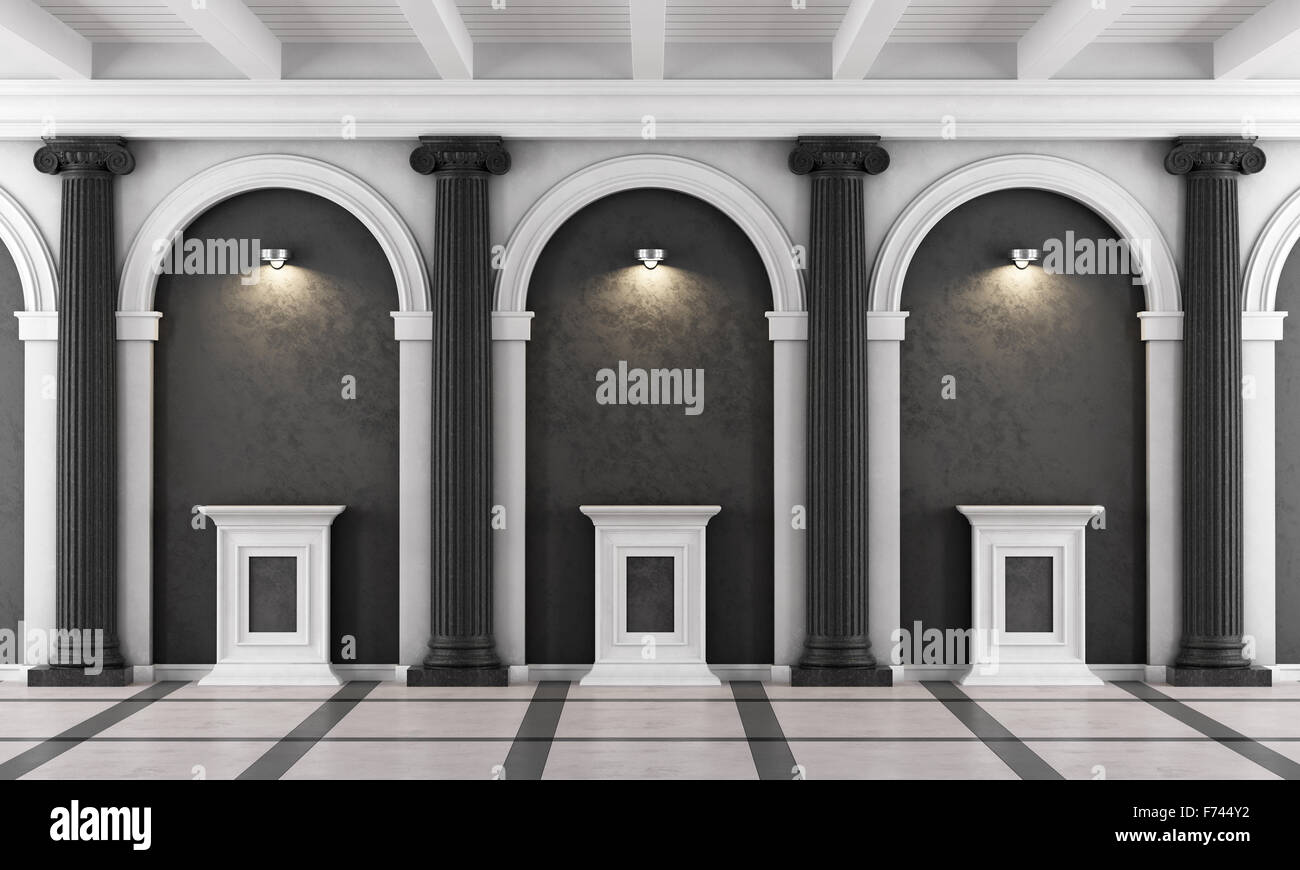 Black and white classic museum with ionic column and pedestal illuminated by spotlights - 3d Rendering - Stock Image