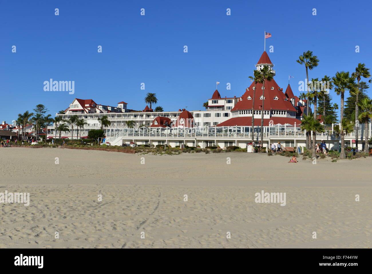 Hotel del Coronado  beach front hotel in the city of Coronado, Stock Photo