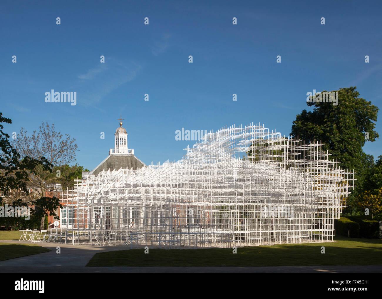 Serpentine Pavillion facade, 2013 by Sou Fujimoto and Aecom engineers, Kensington Gardens London, UK - Stock Image