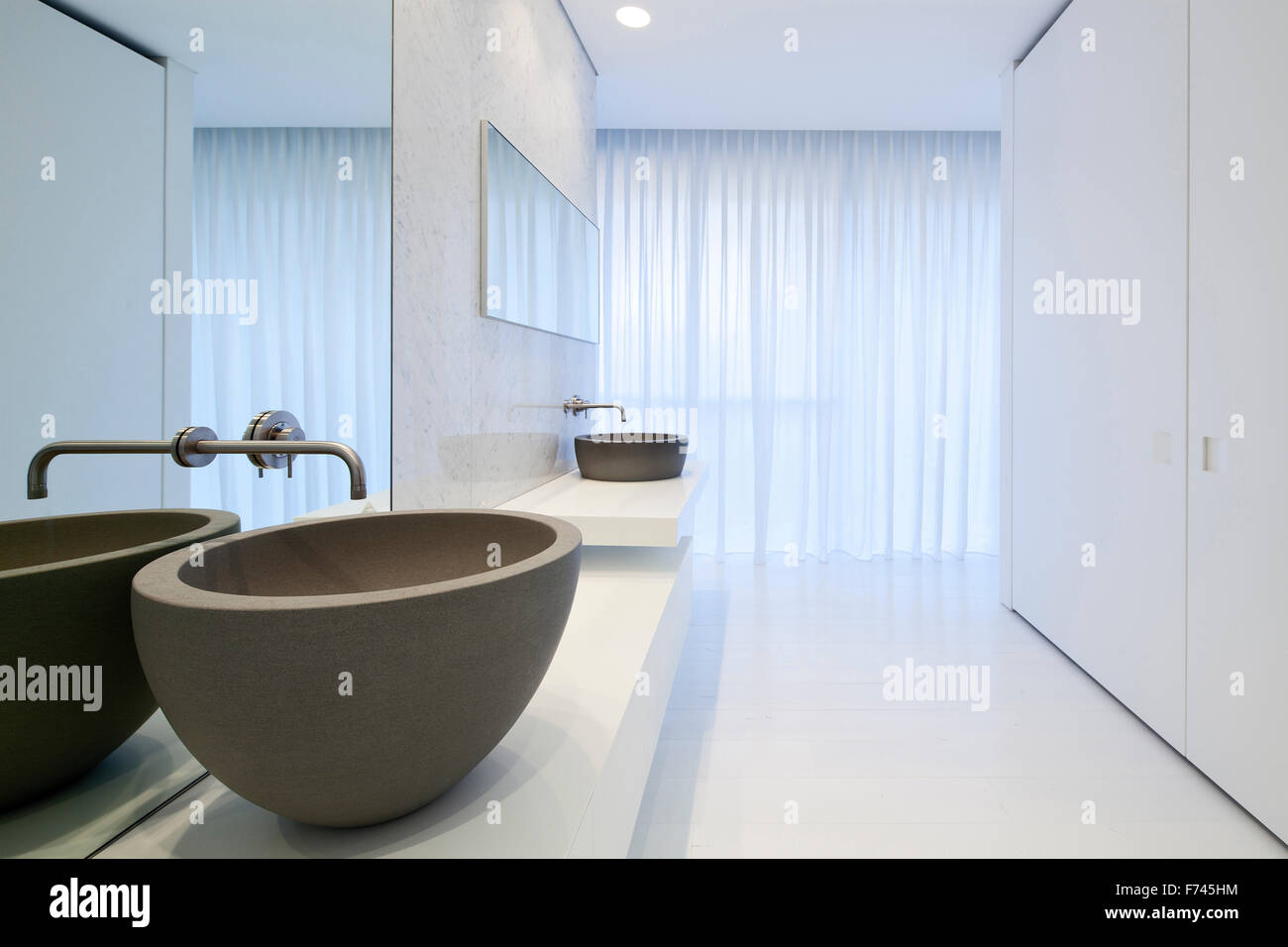 Double basins at window in modern white house, Israel, Middle East ...