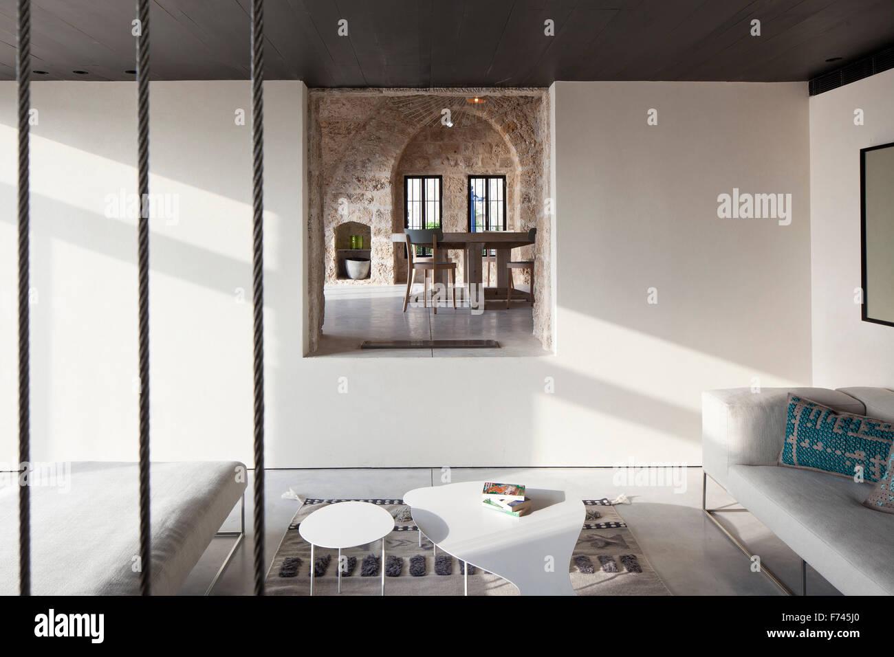 Split level living room in  House, Jaffa, Tel Aviv, Israel - Stock Image