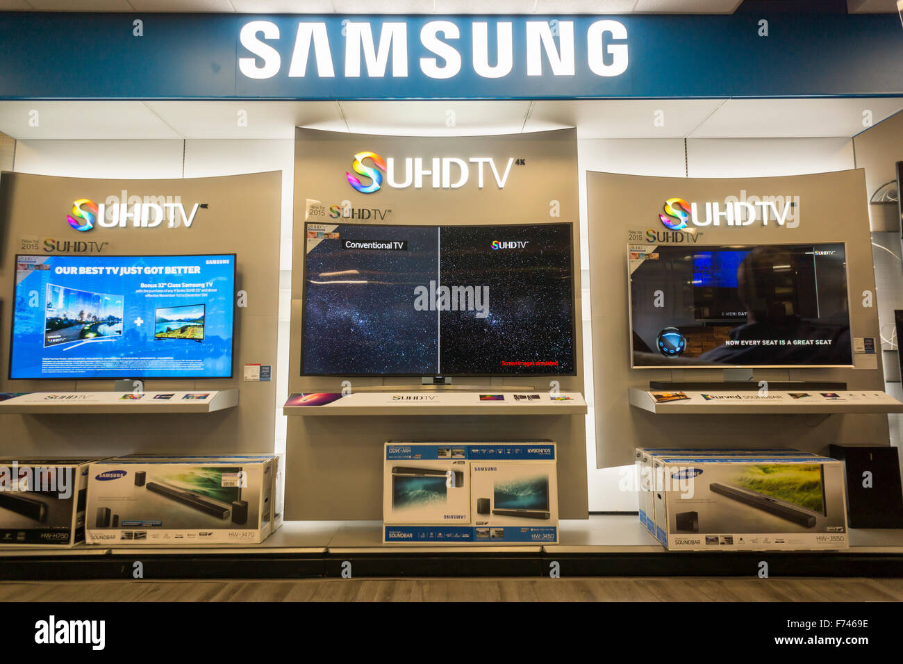A display of Samsung 4K Ultra High Definition televisions in a Best Buy electronics store in Union Square in New - Stock Image