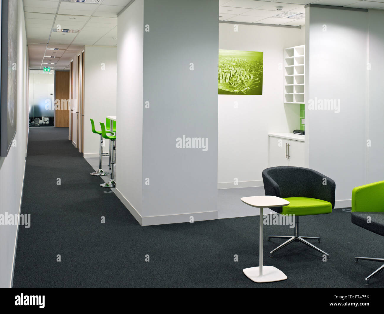 Lime green office chairs and corridor in Exchange Tower, Docklands
