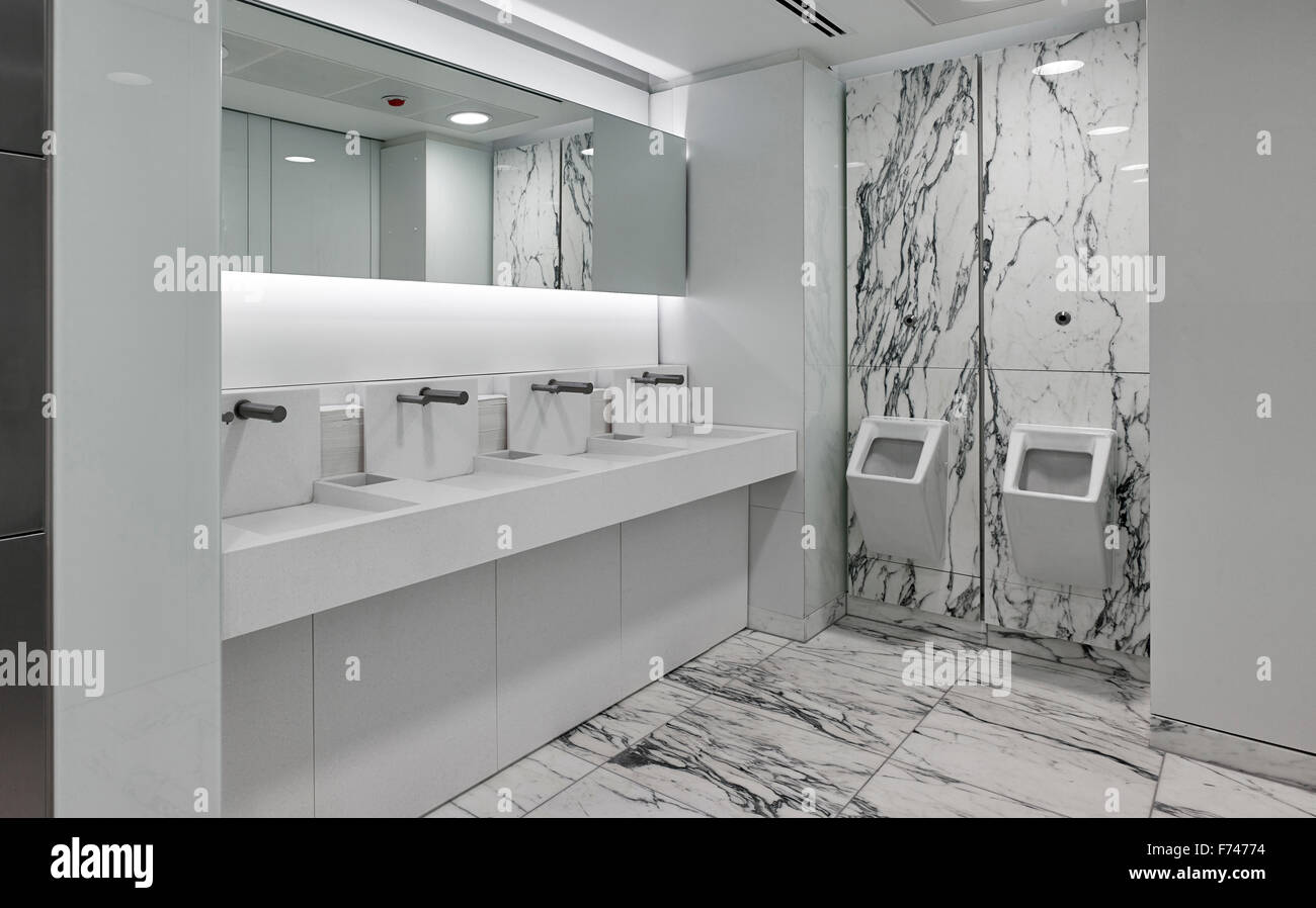 Marble washroom in Squire Sanders office interior, Devonshire Square, London, England, UK - Stock Image