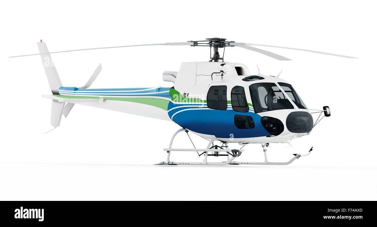 Helicopter isolated on white background. - Stock Image