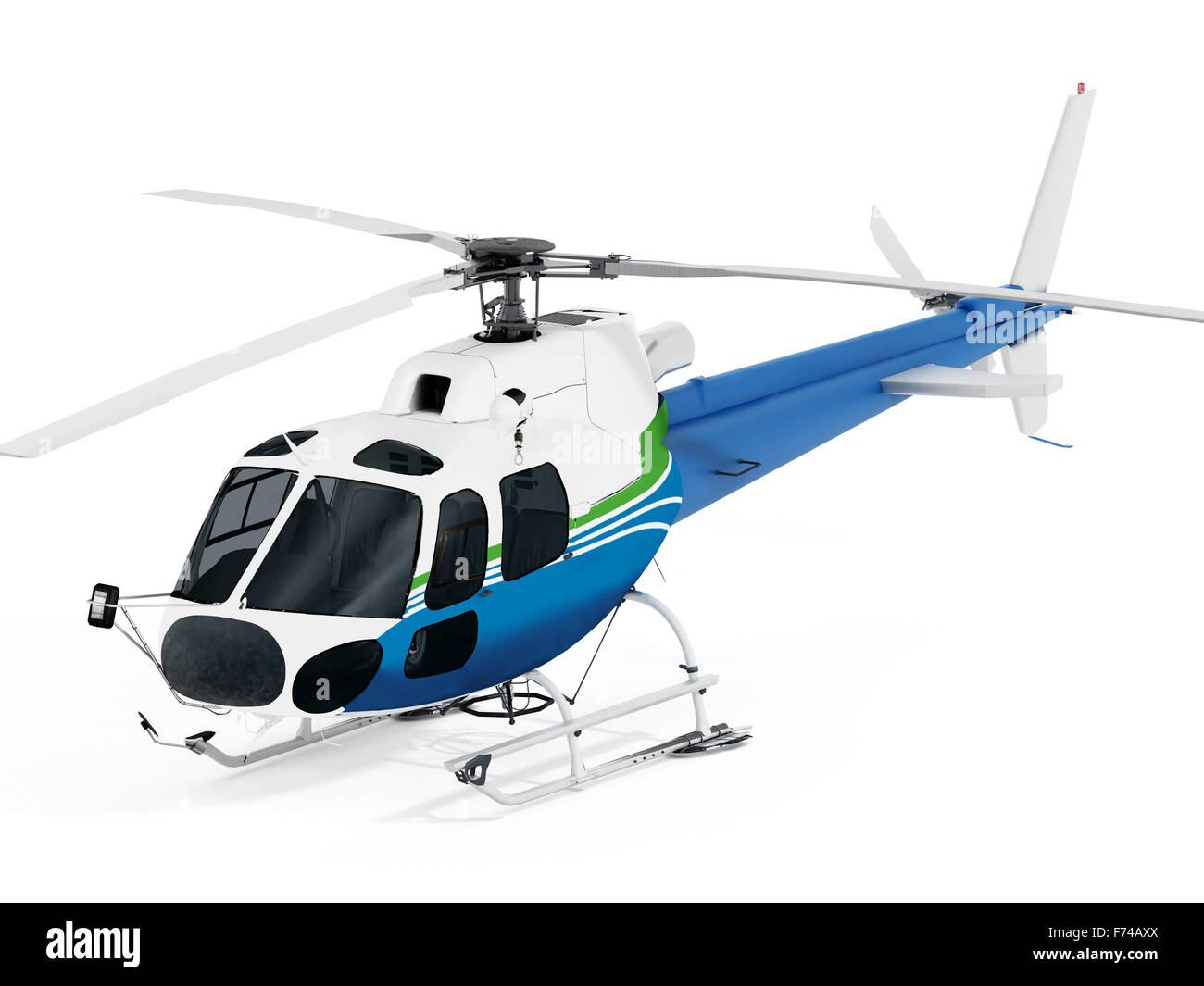 Helicopter isolated on white background. Stock Photo
