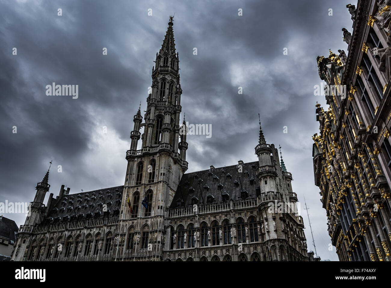 Dark clouds over Brussels - Stock Image