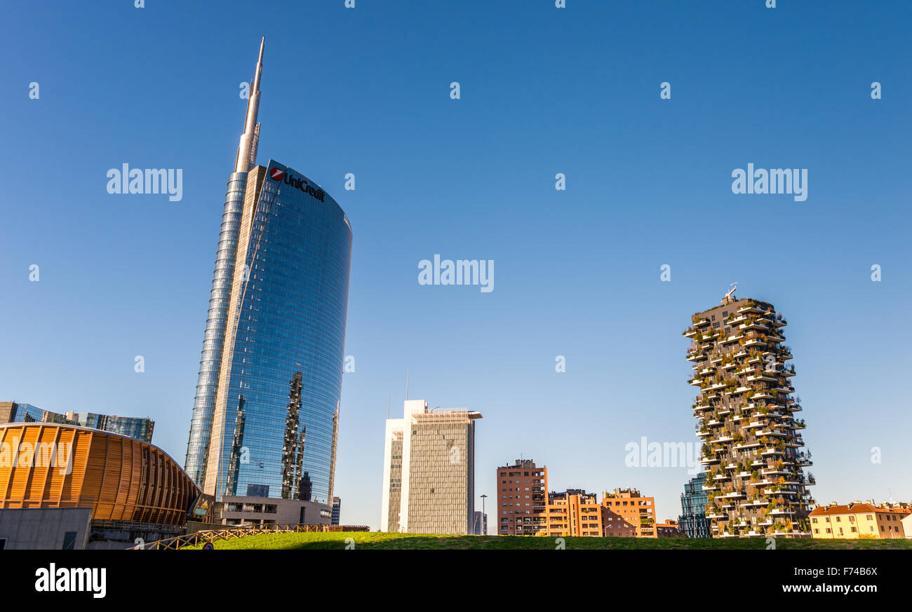 Bosco Verticale. two prestigious buildings, which grow more than 1,000 specimens of plants Stock Photo