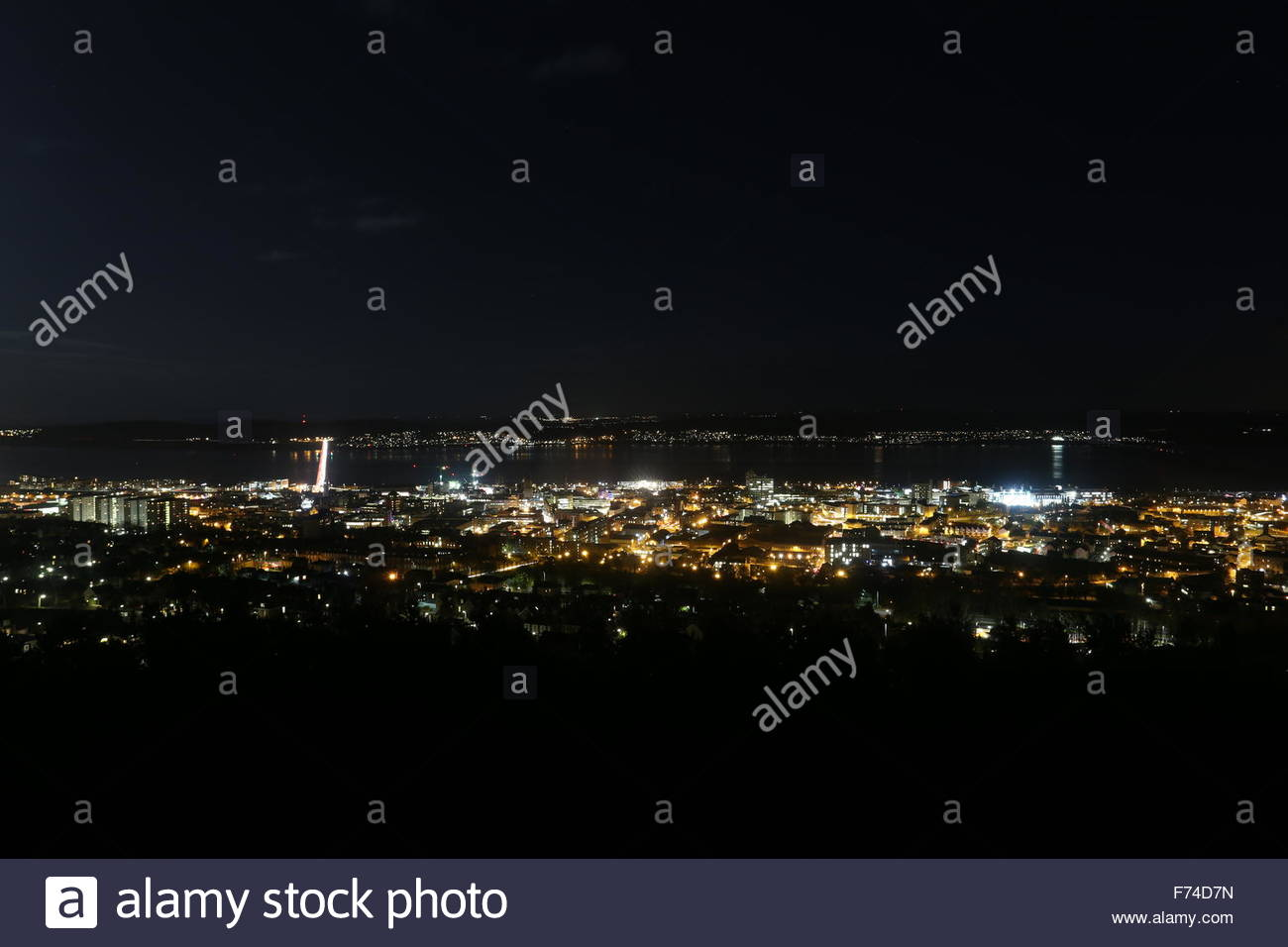 Dundee cityscape by night Scotland  November 2015 - Stock Image