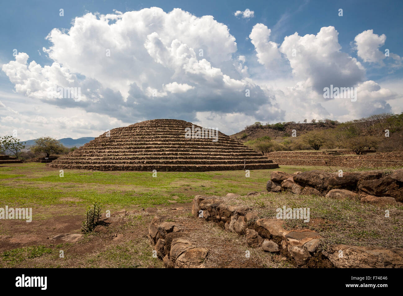 The Guachimontones pre-Columbian site with its unique circular pyramid near the town of Teuchitlan, Jalisco, Mexico. - Stock Image