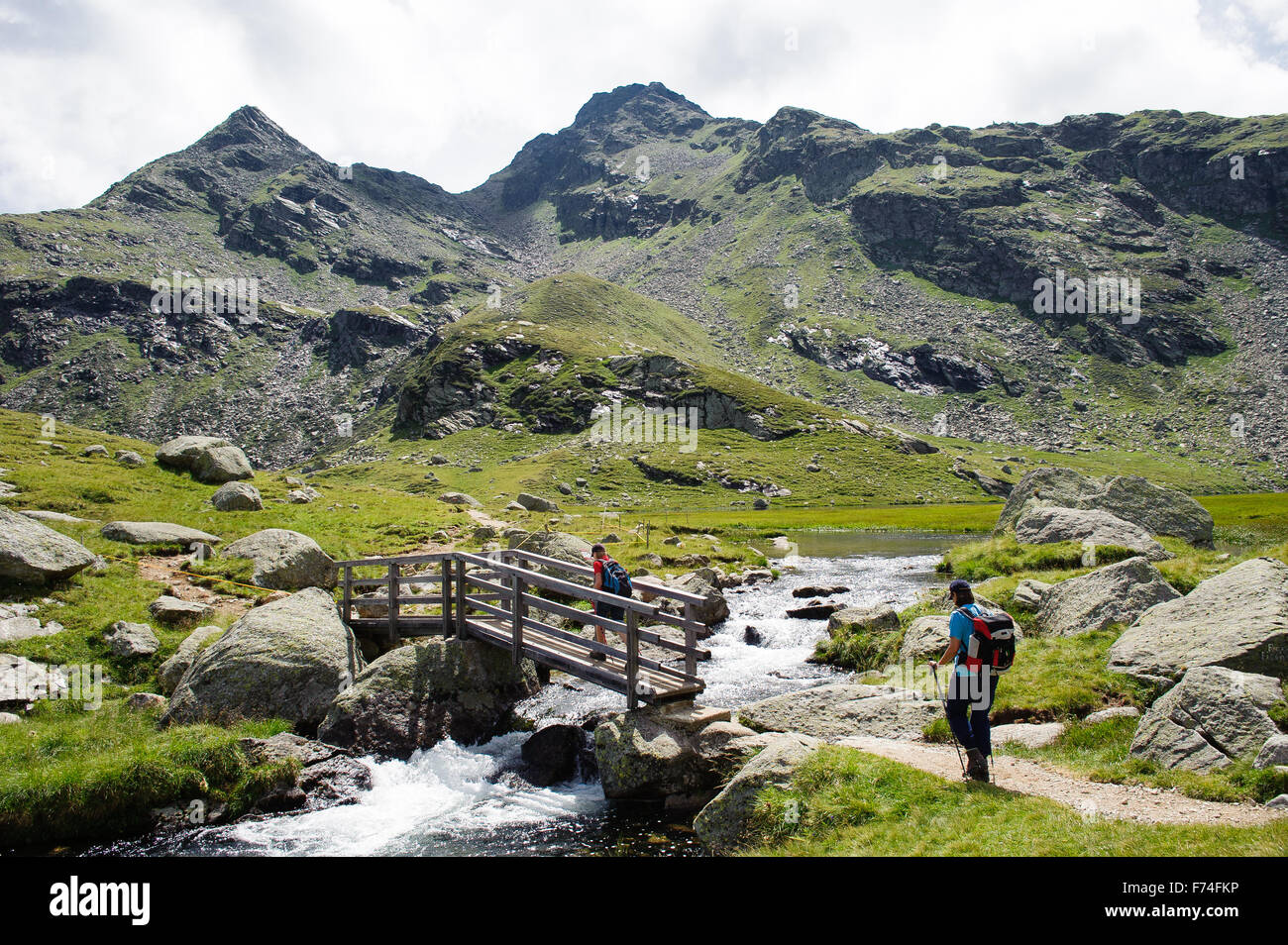 Wanderer auf alpinem Steig mit Brücke / Hiker on wooden bridge on alpine track - Stock Image