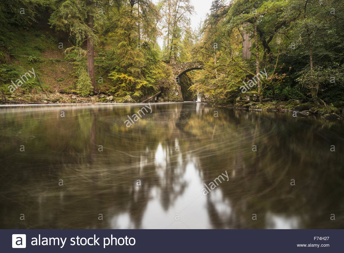 Swirls in the course of the River Braan at the Hermitage, Dunkeld, Perthshire, Scotland. - Stock Image