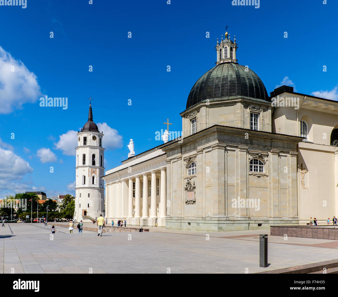 Cathedral with Bell Tower in Vilnius, Lithuania - Stock Image