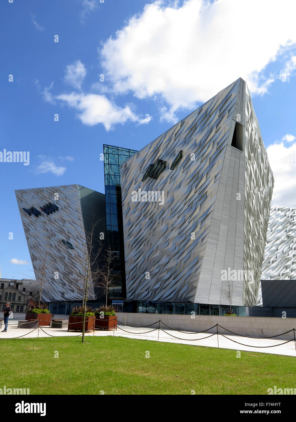 Exterior photograph of the Titanic Belfast exhibition halls - Stock Image