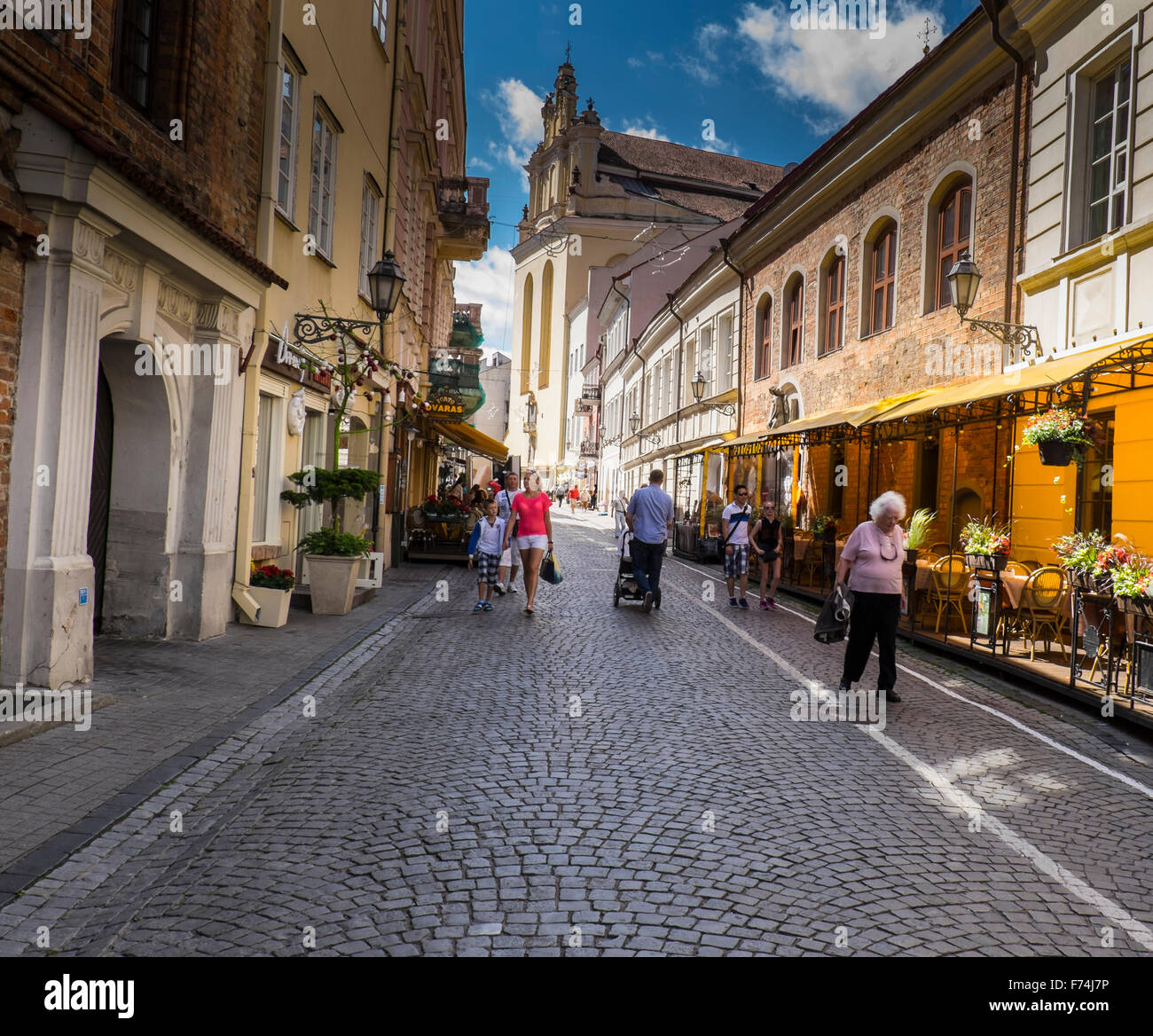 Cobbled Street in Vilnius, Lithuania - Stock Image