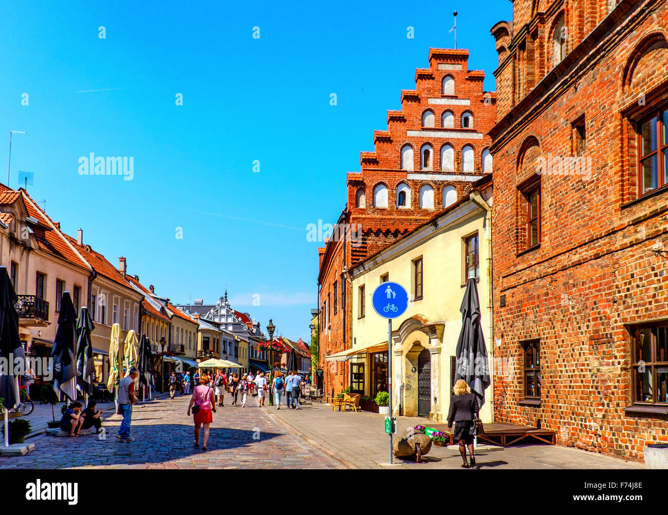 Cobbled Street in Old Town Kaunas, Lithuania - Stock Image