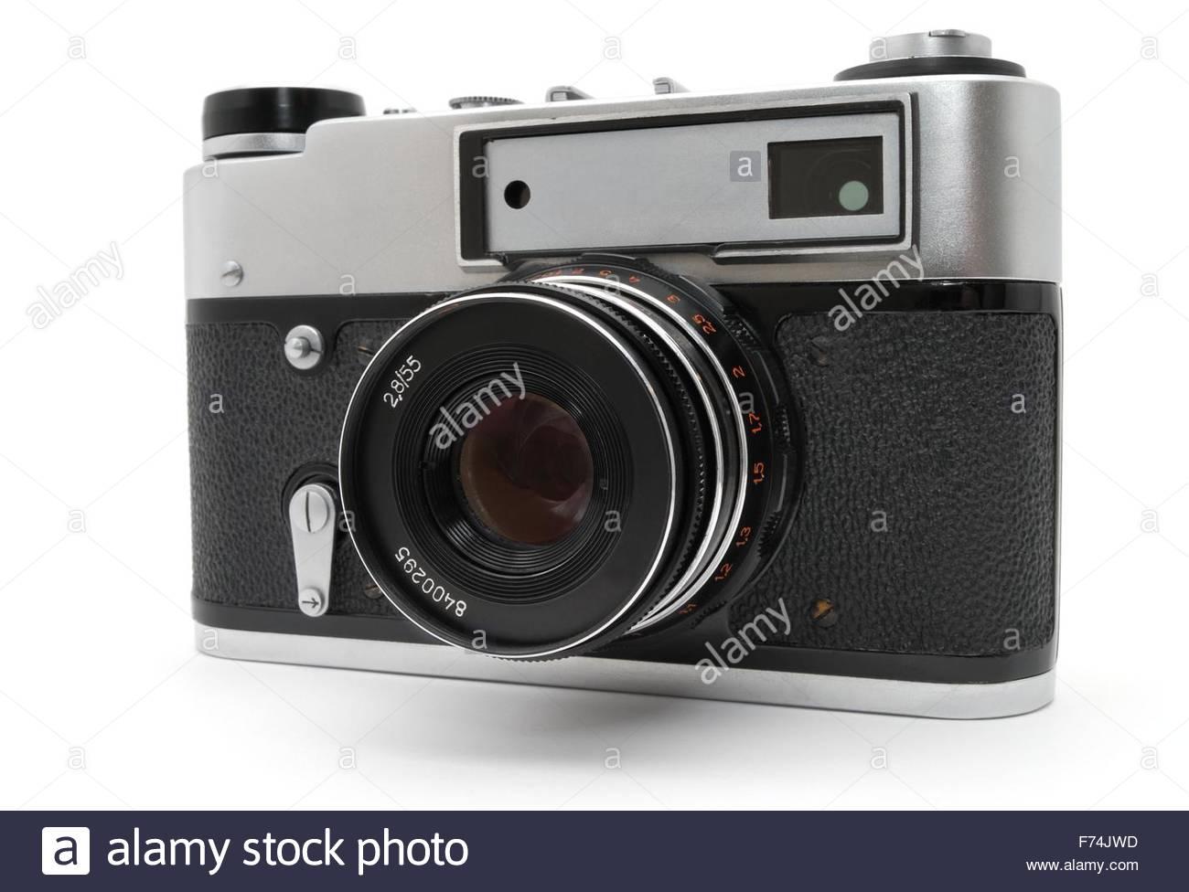 Old photo camera. Stock Photo