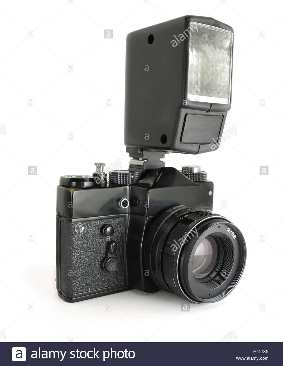 Soviet camera and flashlight - Stock Image