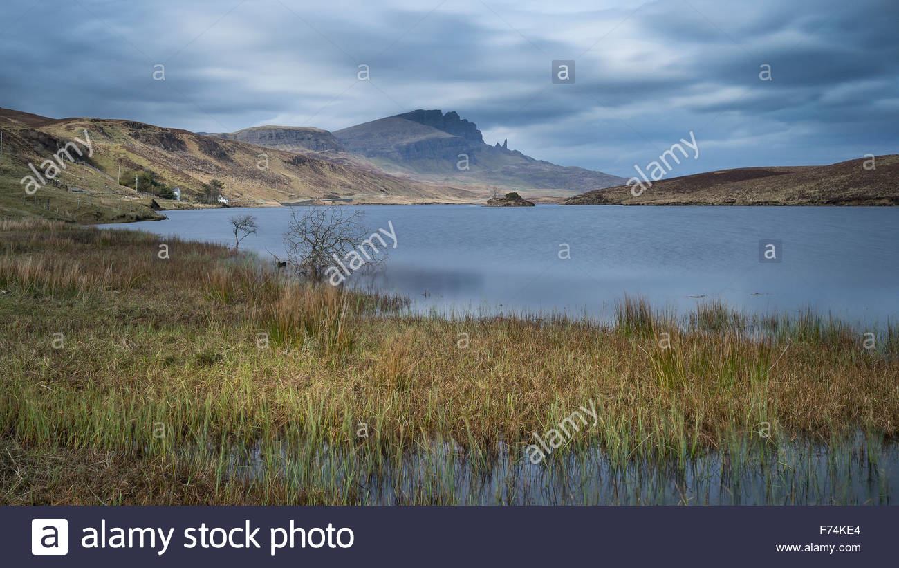 The Old man of Storr viewed from across Loch Fada, Isle of Skye, Inner Hebrides, Scotland - Stock Image