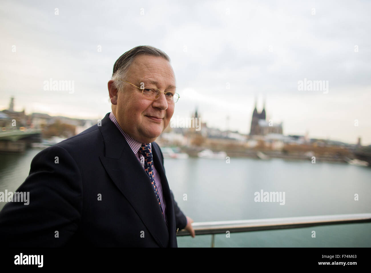 Cologne, Germany. 12th Nov, 2015. Hans-Gerd Jauch, insolvency administrator for Arcandor, poses on the balcony of - Stock Image
