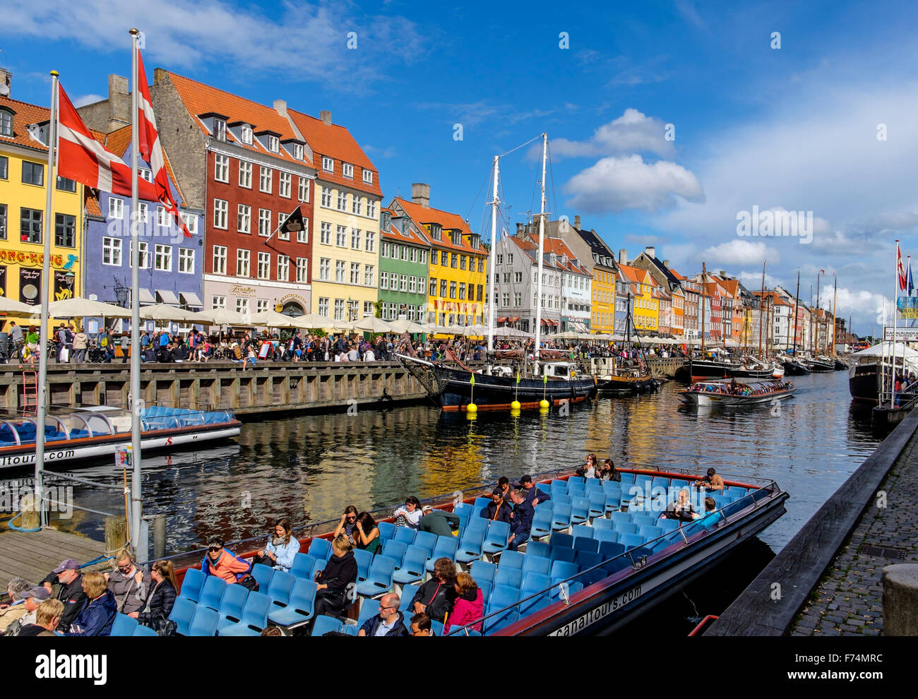 Nyhavn is a waterfront,canal and entertainment district in Copenhagen, Denmark - Stock Image