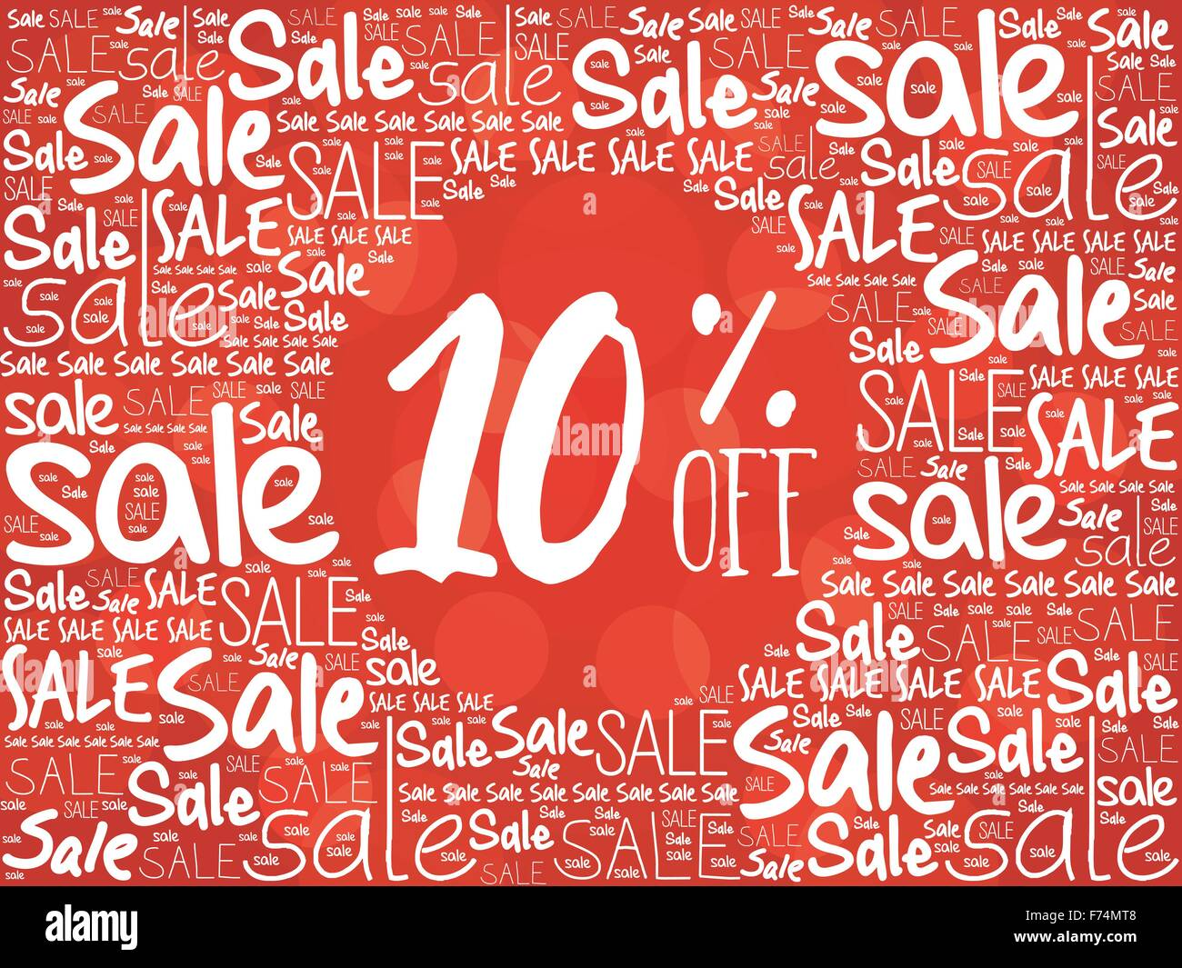 10% OFF word cloud background - Stock Image