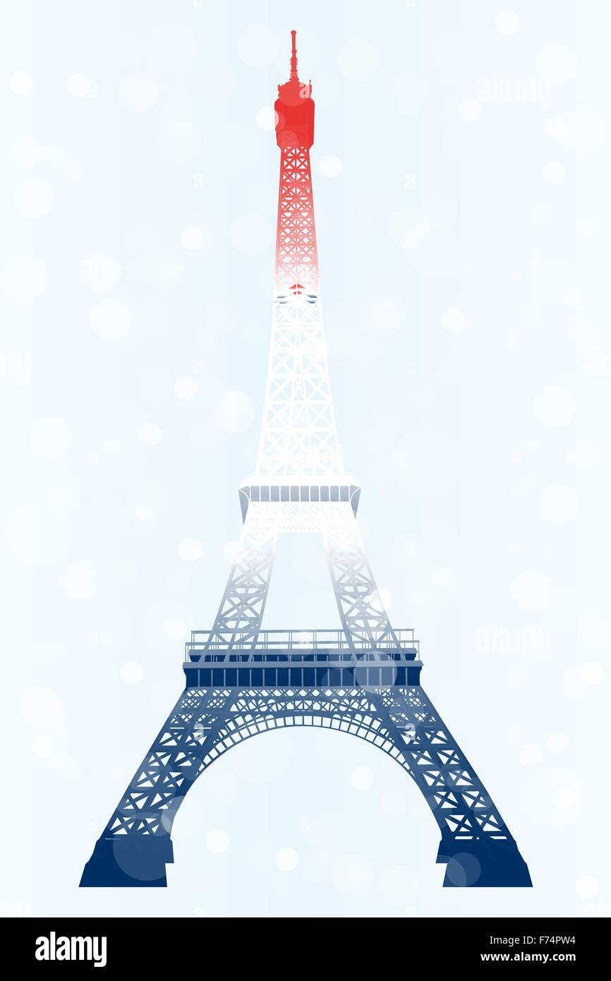 Eiffel tower illustration in blue-white-red (French flag) on light-blue background - jpg and eps file available - Stock Vector
