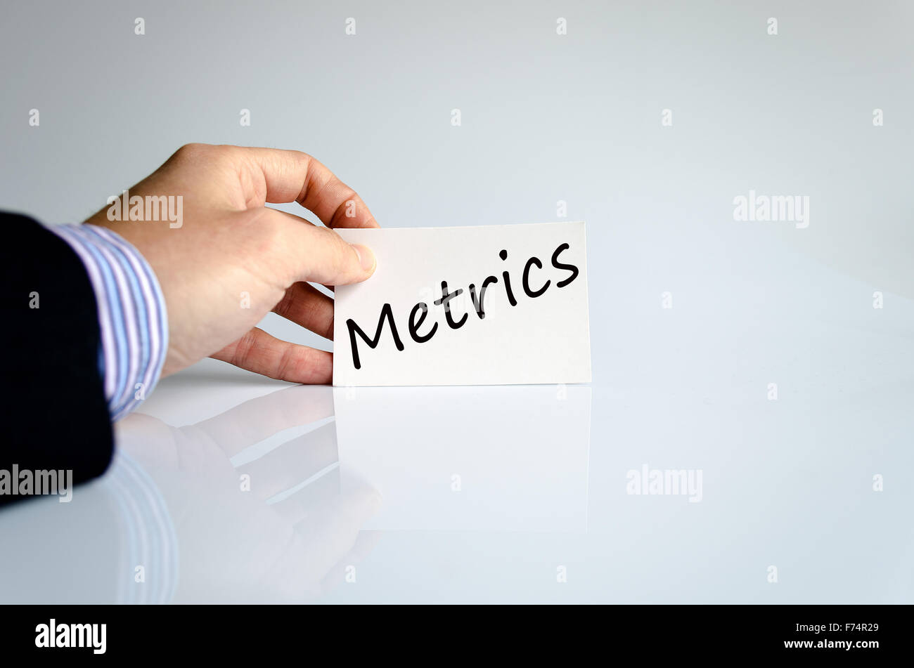 Metrics text concept isolated over white background - Stock Image