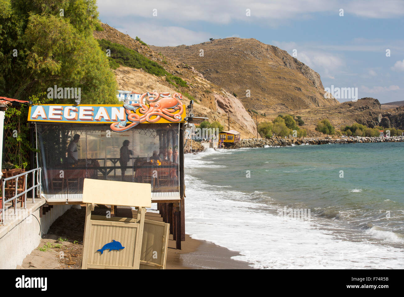 A taverna on the sea front in Skala Eresou, on Lesvos, Greece. Stock Photo