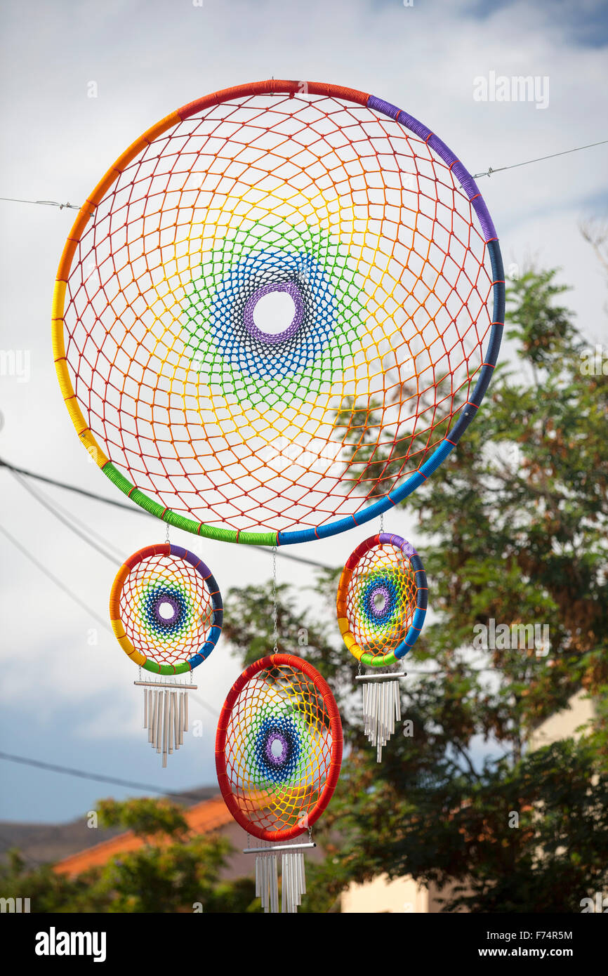 A dream catcher put up as part of a womens festival for the lesbian community who flock to Skala Eresou, on Lesvos, Stock Photo