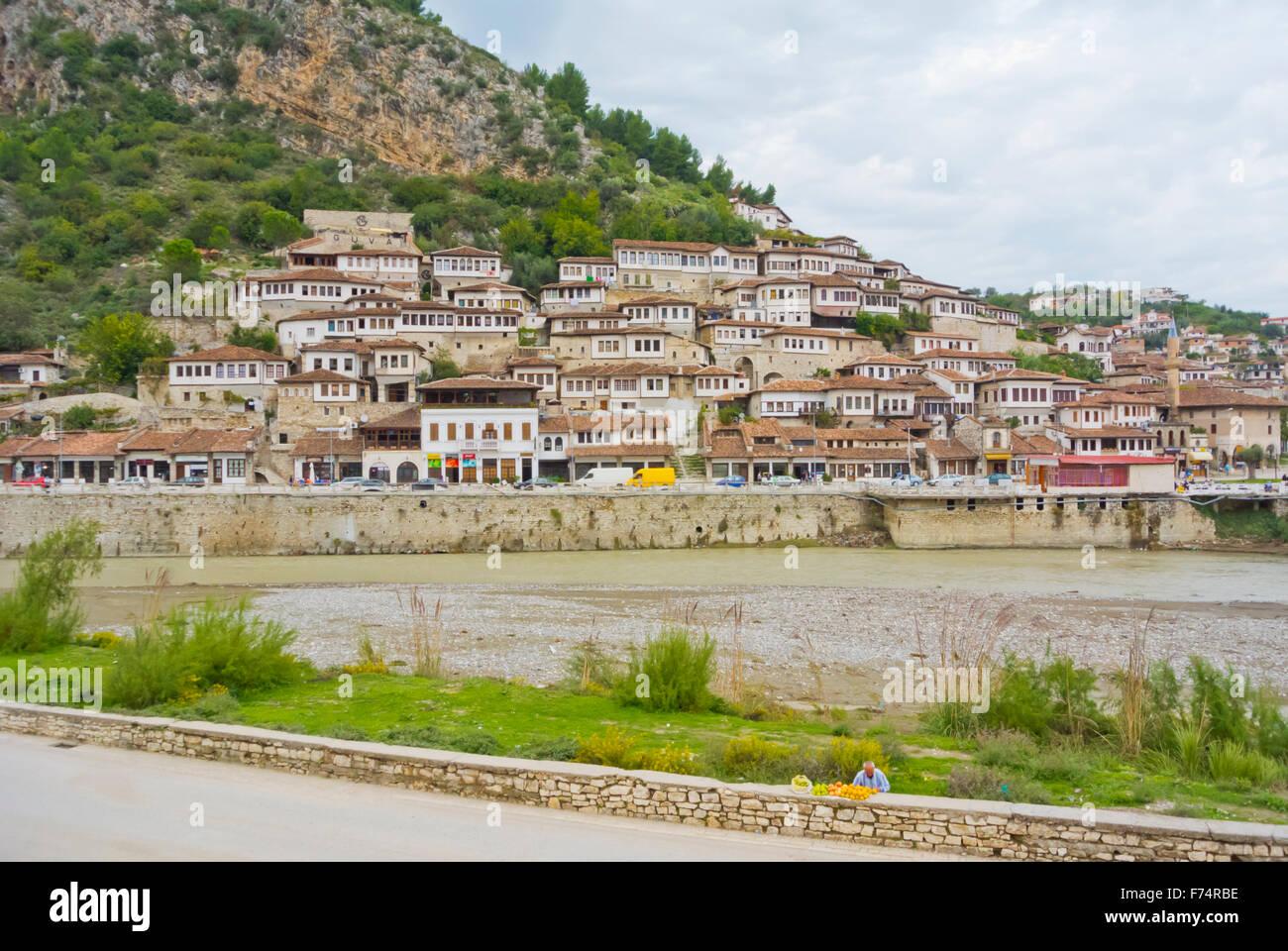Hillside houses, riverside Osum, Berat, Albania - Stock Image