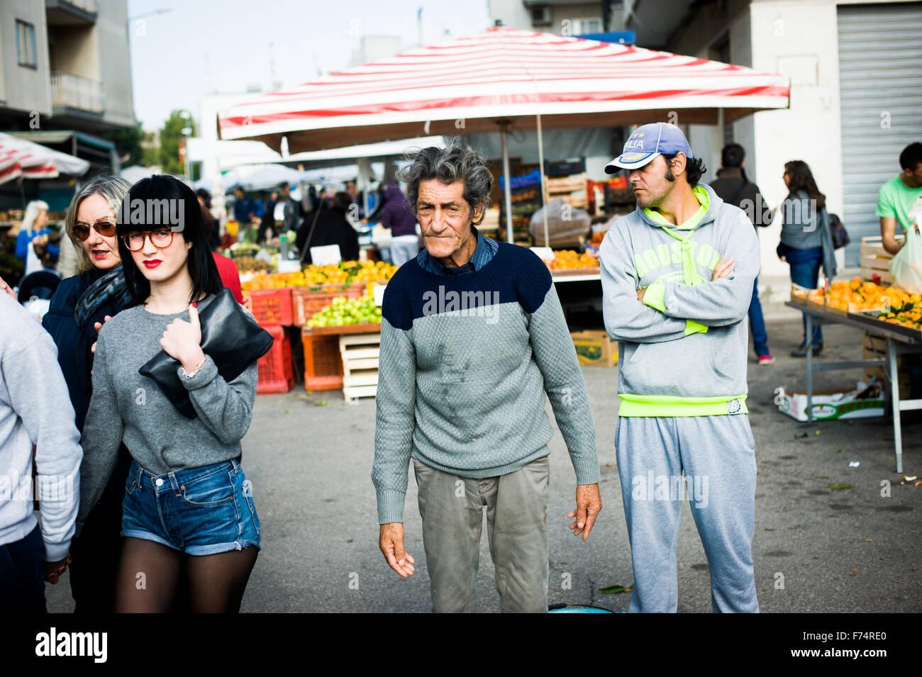 Interesting characters at Ostuni food market, Ostuni, Puglia, Italy - Stock Image