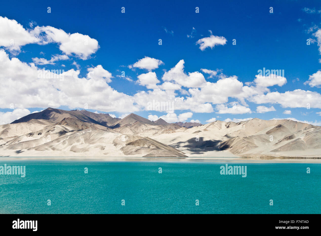 This lake is located along the phenomenal Karakoram highway crossing the Karakoram ranges. - Stock Image