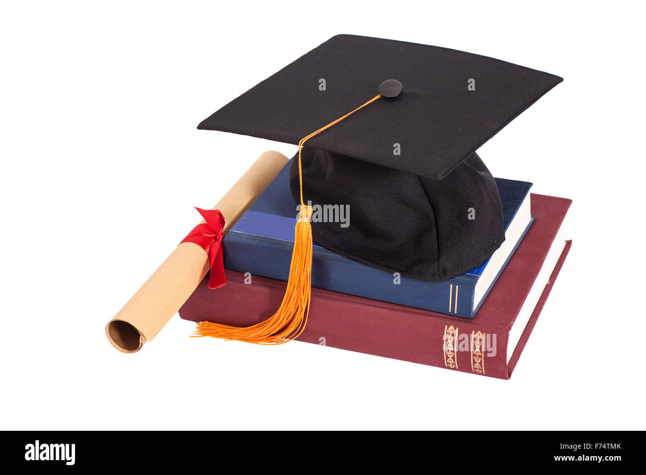 Graduation Hat with Diploma and books isolated - Stock Image