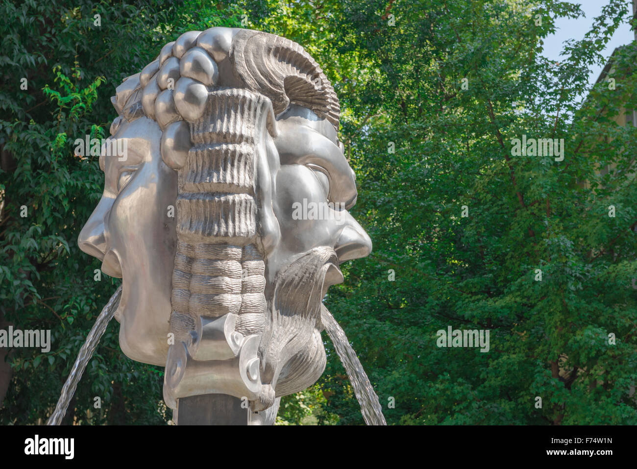 Trieste Italy, the Janus Fountain at the entance to the cafe-lined boulevard of the Viale XX Settembre in the city - Stock Image