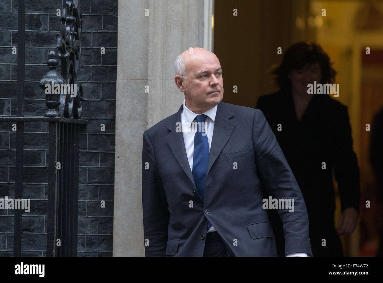 Iain Duncan Smith,work and pensions secretary,in Downing street for a cabinet meeting - Stock Image