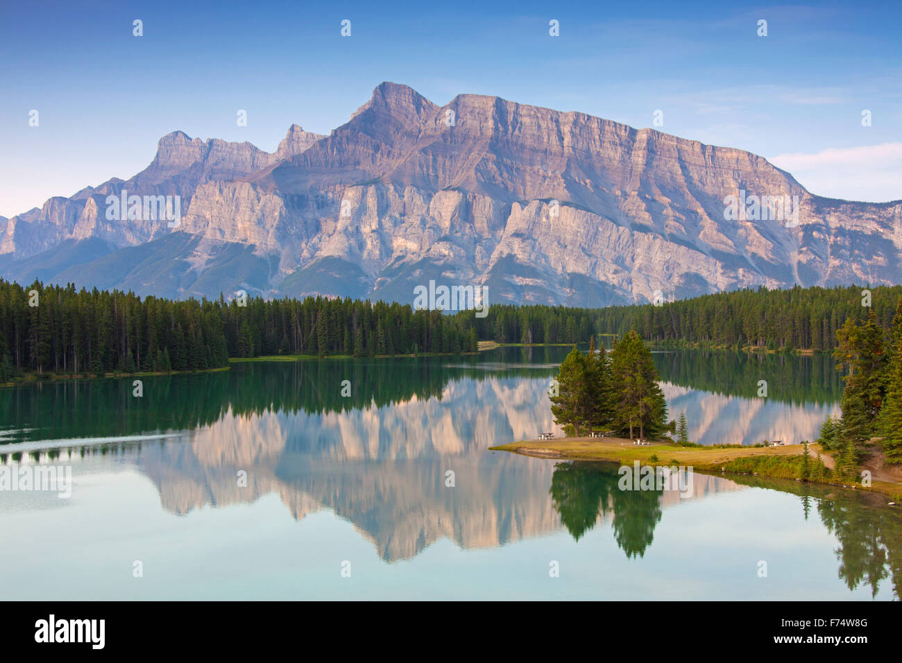 Mount Rundle and Two Jack Lake, Banff National Park, Alberta, Canadian Rockies, Canada Stock Photo