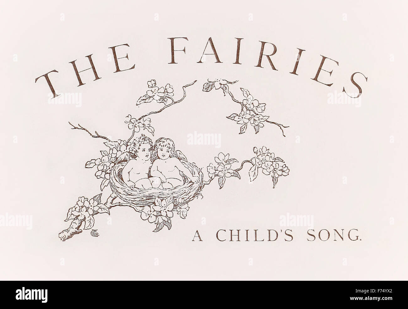 Title page from 'The Fairies – A Child's Song' by William Allingham (1824-1889), illustration by Emily Gertrude - Stock Image