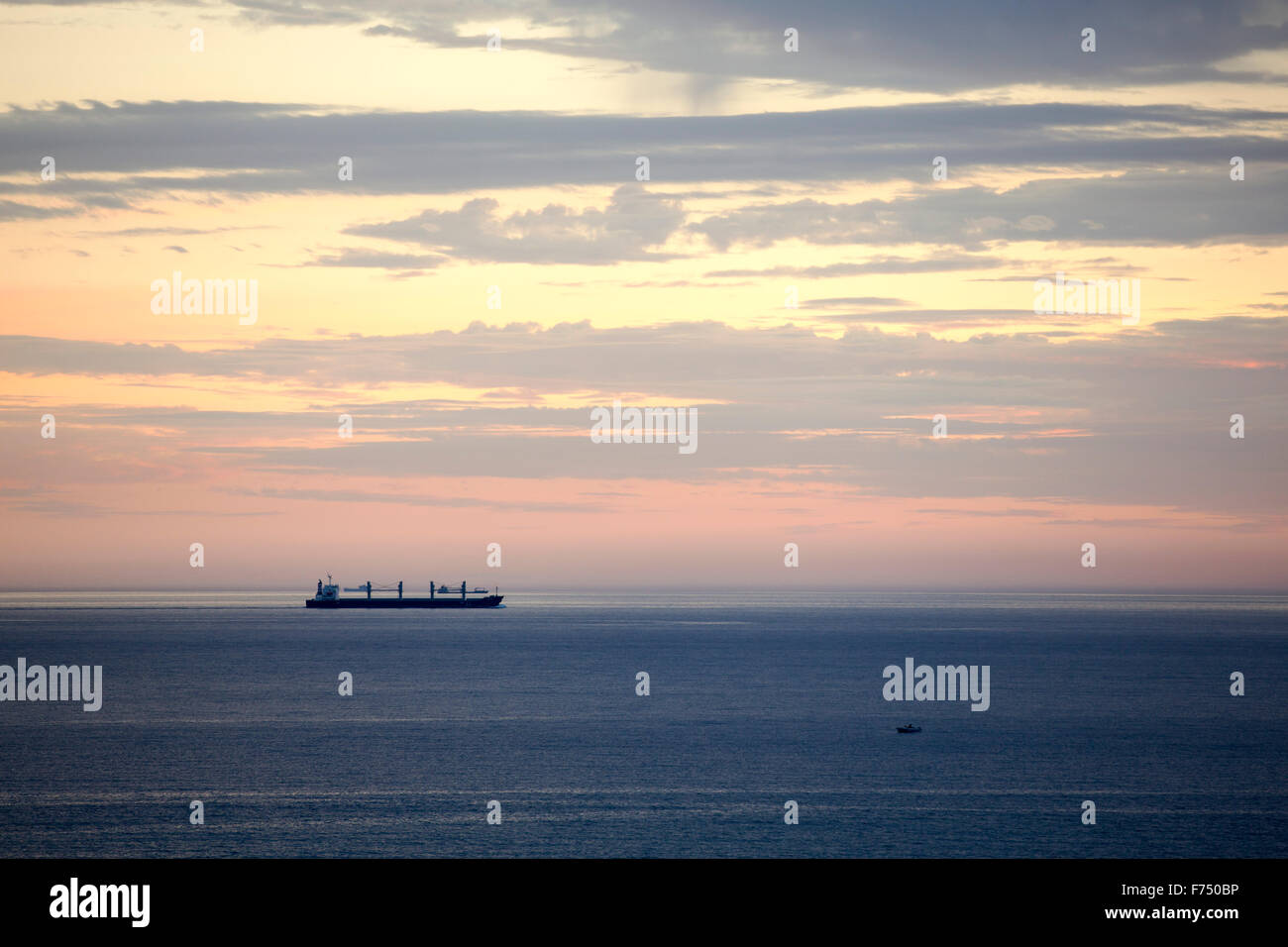 A ship off Skala Eresou, Lesvos, Greece. Stock Photo