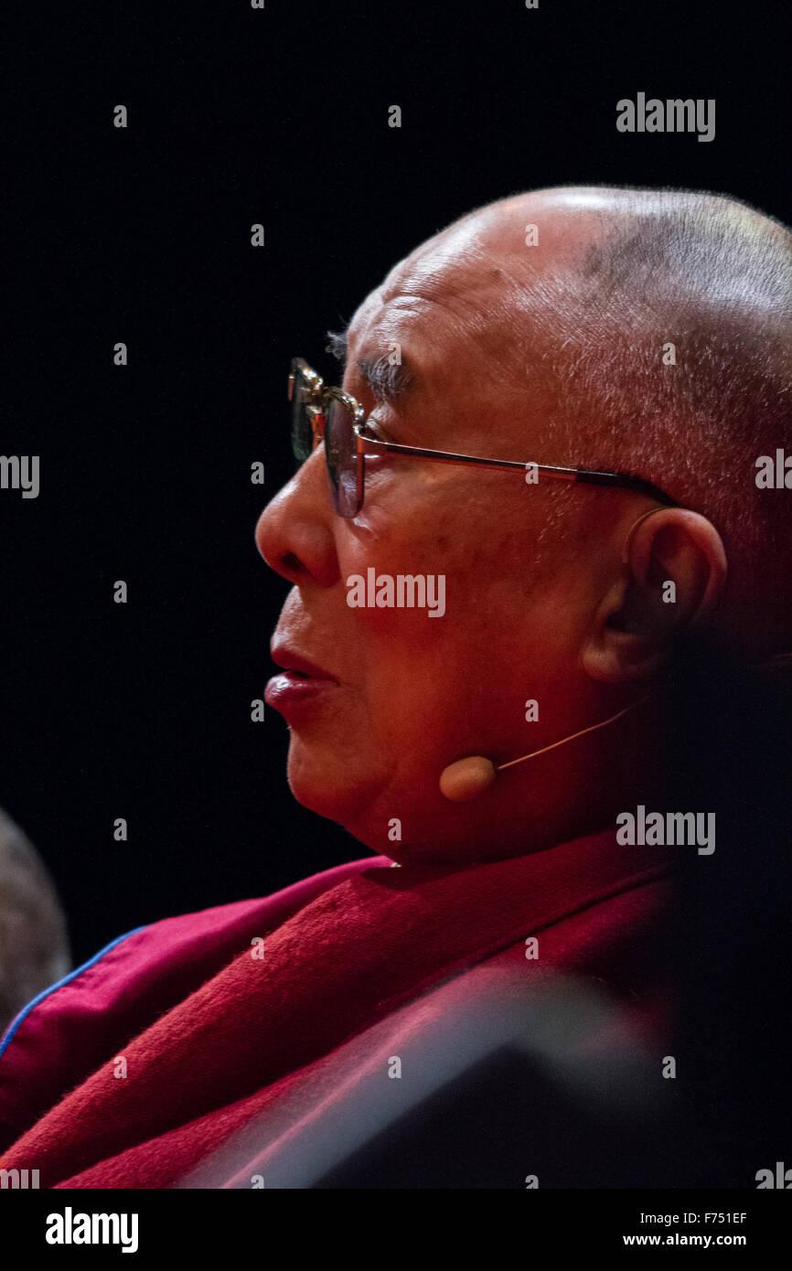 The Dalai Lama in O2 Arena in London as part of his UK Tour 2015 - Stock Image