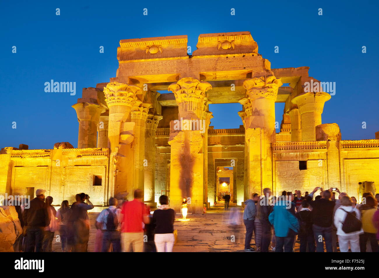 Egypt - Kom Ombo, Temple of Sobek, a Crocodile Temple by night Stock Photo