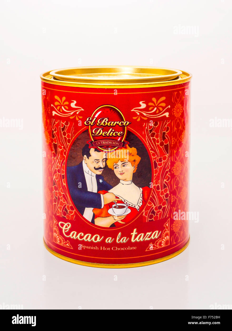 Packaging and Edwardian style tin of El Barco Delice Cacao a la Taza Spanish Hot Chocolate Stock Photo