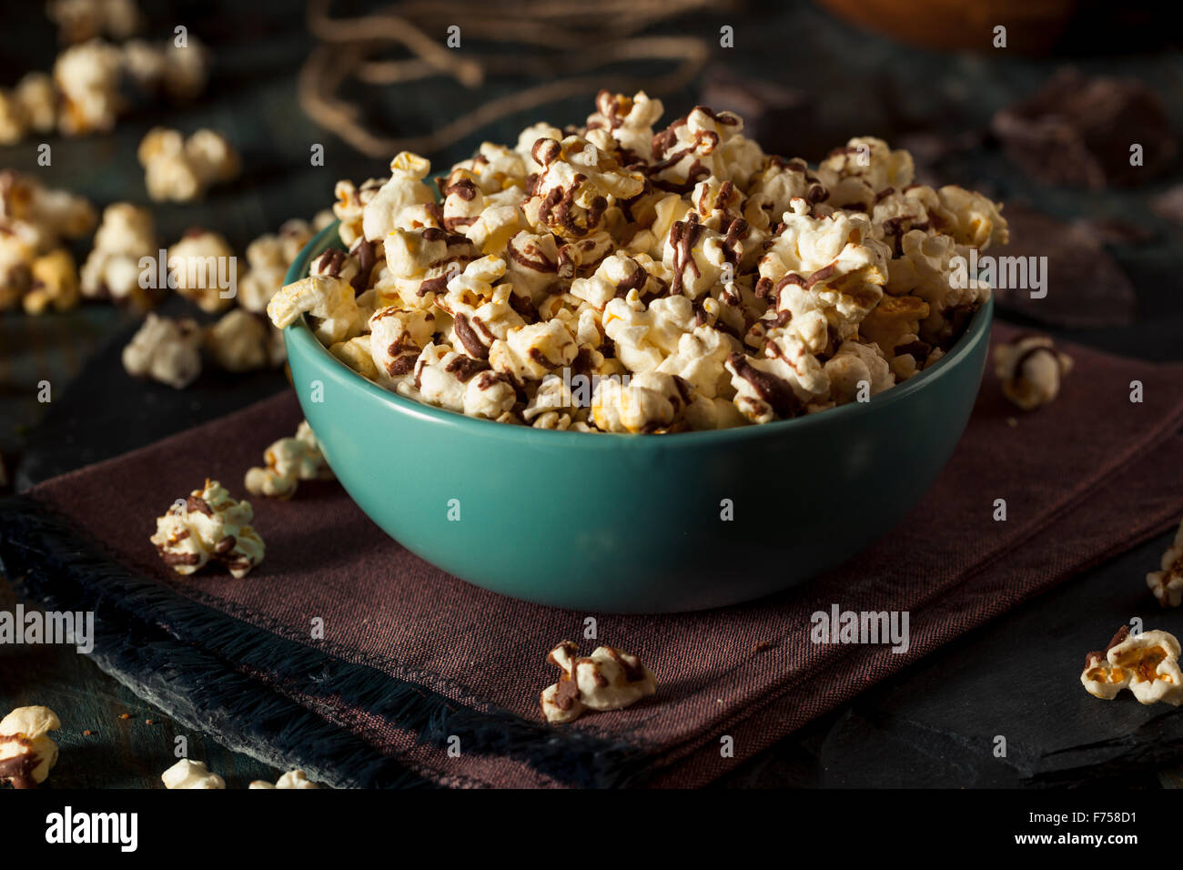 Homemade Chocolate Drizzled Caramel Popcorn Ready to Eat - Stock Image